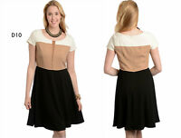 D10 Womens Formal Cocktail Wedding Evening Office Work Party Slim Skater Dress