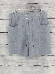 """Wrap London Women'sLinen Culottes, Striped 35"""" Waist Blue"""