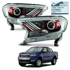 Pair Head Lamp Light Projector Red Fits Ford Ranger T6 UTE Pickup 2015 - 2017