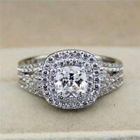 3.00 Ct Cushion Cut Diamond 14k White Gold Fn Bridal Set Engagement Wedding Ring