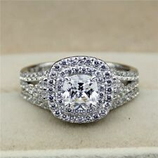 3.00 Ct Cushion Cut Diamond Bridal Set Engagement Wedding Ring 14k White Gold Fn