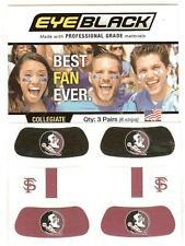 Florida State University Eye Black 3 Pair Peel N Stick Facial Art 6 Strips Total