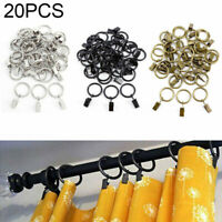 20Pcs Metal Curtain Pole Rod Voile Net Rings Hooks Hanging Clips Parts Kits Set