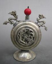 China Collectible Old Tibet Silver Carve Double Dragon Decor Noble Snuff Bottle