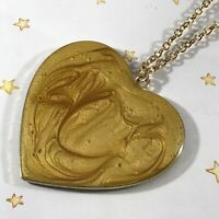 "16"" Link Chain w/ Large HEART Pendant Gold Metal Necklace Lobster Claw Clasp"