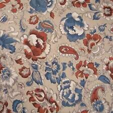 Dressmaking Cotton Fabric, Beige, Blue & Mahogany Paisley, Per Yard