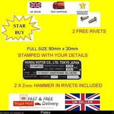 Car or Motorbike VIN Plate Chassis Number for Honda + Rivets + YOUR OWN TEXT H2