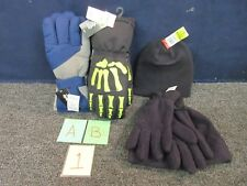 4 BOYS THINSULATE GLOVES HAT WINTER COLD WEATHER WATERPROOF L/XL BLUE SKELETON