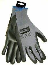 NEW PU COATED WORK GLOVES DIY GARDENING SNUG FIT GREY SIZE 9 LARGE V