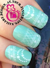 NAIL ART WRAP WATER TRANSFER DECALS WHITE FLORAL/DOTS FISH NET LACE #147