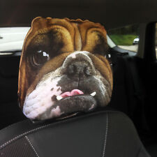 BRITISH BULLDOG FACE DESIGN CAR SEAT HEAD REST COVERS 2 PACK MADE IN YORKSHIRE