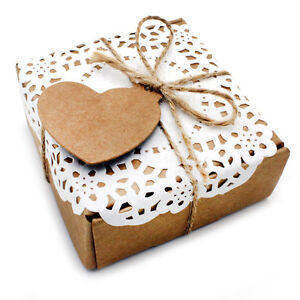 10 boxes Beautiful Handcrafted LOVE HEART Kraft Card Wedding Favours gift box