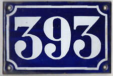 Old blue French house number 393 door gate plate plaque enamel metal sign c1900