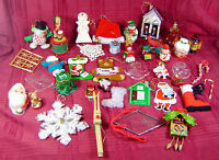 Vintage Christmas Tree Ornaments Large Lot 40 Wooden Assorted Santa Collection