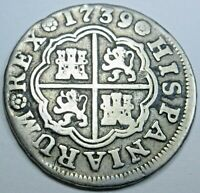 1739 Spanish Silver 1 Reales Piece of 8 Real Colonial Era Pirate Treasure Coin
