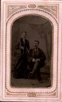 Antique RARE Tintype Photo Victorian couple in portrait,  Ontario Canada  pb29