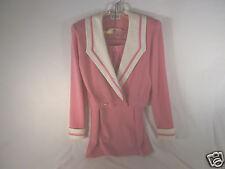 Beautiful St. John Knit 2-Pc Suit Pink Jacket w Collar & Straight Skirt 8 Guc