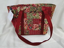 NEW DONNA SHARP WATERCOLOR PATCH LEAH TOTE BAG HANDBAG Rose Green Burgundy