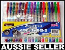 Pk18 Assorted Colours Gel Pens Art Craft Classic Neon Glitter Gel Ink Pen 0.5MM