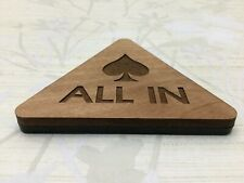 "Poker ""All In"" Button Custom Wood & Plastic Triangle Poker Game Button"