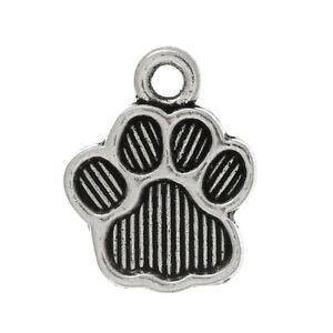 Dog Paw Charms Tibetan Silver Pendants Pack of 10