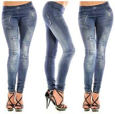 New Stylish Denim Look Ripped Faux Jean Blue Tights Pants For Women Slim Jeans