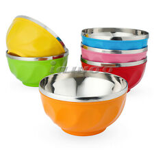 6pcs Stainless Steel Mixing Bowls Dishwasher Safe Salad Bright Colored Bowl