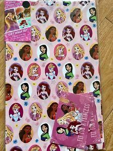 Disney Princess Birthday Wrapping Paper (Inc 2 Sheets & 2 Tags)