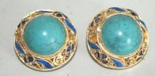 VINTAGE CHINESE ENAMELED GP ON SILVER TURQUOISE CABOCHON JEWELED EARRINGS