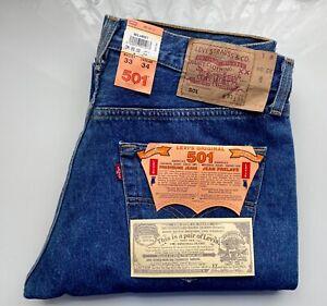 NEU VINTAGE LEVI's Original Jeans Hose Preshrunk 501 501.01.14 W33 L34 hellblau