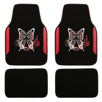 Car Floor Mat Universal Red Butterfly 4 PCS For Honda Hyundai Toyota Holden Seat