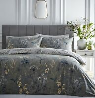 Countryside Floral Green Ochre Grey Double Duvet Cover Meadow Quilt Bedding Set