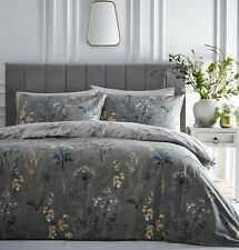 Countryside Floral Meadow Green Ochre Grey Double Duvet Quilt Cover Bedding Set