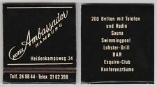Vintage Matchbook with Matches - Ambassador Hotel, Hamburg, Germany - 1970's