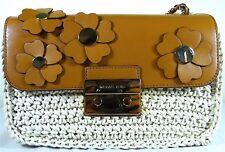 Michael Michael Kors Sloan Floral  Applique Natural Acorn Chain Shoulder Bag