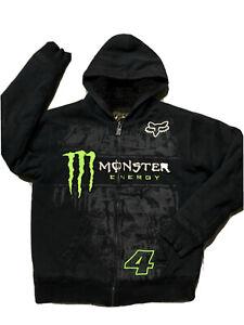Fox Racing Monster Energy Fur Lined Hoodie Men's Size L Ricky Carmichael #4