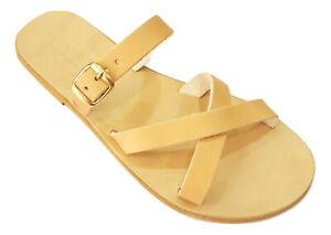 Ancient Greek Style Roman Slide Leather Handmade Sandals Shoes Women Flat New