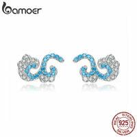 BAMOER Women Stud Earrings S925 Sterling Silver Blue AAA Zircon waves Jewelry