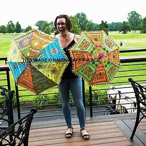 "Indian Cotton Umbrella Heavy Embroidery Work Designer Sun Parasol 2 PC Set 24"""