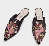Womens new Embroidered Mules Shoes Pointy Toe Slippers Loafers Satins Flat Heels