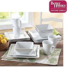 Square Dinner Set Dining Bowls Plates Dishes Mug White 16PC Porcelain Dinnerware