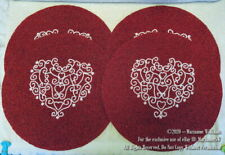 4 NEW BEADED PLACEMAT TABLE MAT CHARGER VALENTINES DAY DEEP RED & WHITE HEART