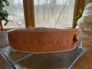 Vintage GOLDS GYM Belt BROWN LEATHER Weightlifting Support Double Buckle M 32-36