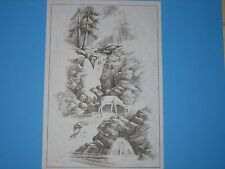* Tri Chem 7772 2905 Deer Waterfall Rocks Tree Mountain Picture to paint Trichem