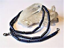 Collier (60 cm) perles Lapis Lazuli rondes / tubes - pierre fine naturelle