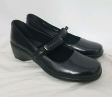 Clarks Black Leather Mary Jane Strappy Buckled Wedge Heels Shoes Size 8.5M