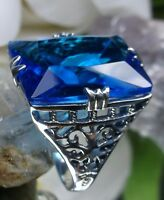 30ct Sim Swiss Blue Topaz Sterling Silver Vintage Filigree Ring {Made To Order}
