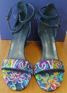 Stuart Weitzman Pipebackup Embroidered Carnival Denim Wedge Sandal NIB Size 41.5
