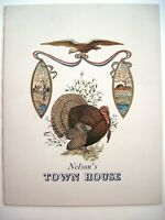 "Vintage ""Nelson's Town House"" Thanksgiving Dinner Menu - Cost $1.50 w/Turkey  *"