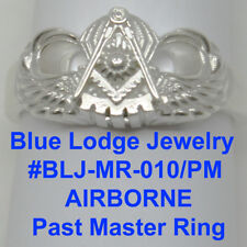 Sterling Silver Past Master Airborne Ring, Blue Lodge Jewelry, Masonic Family